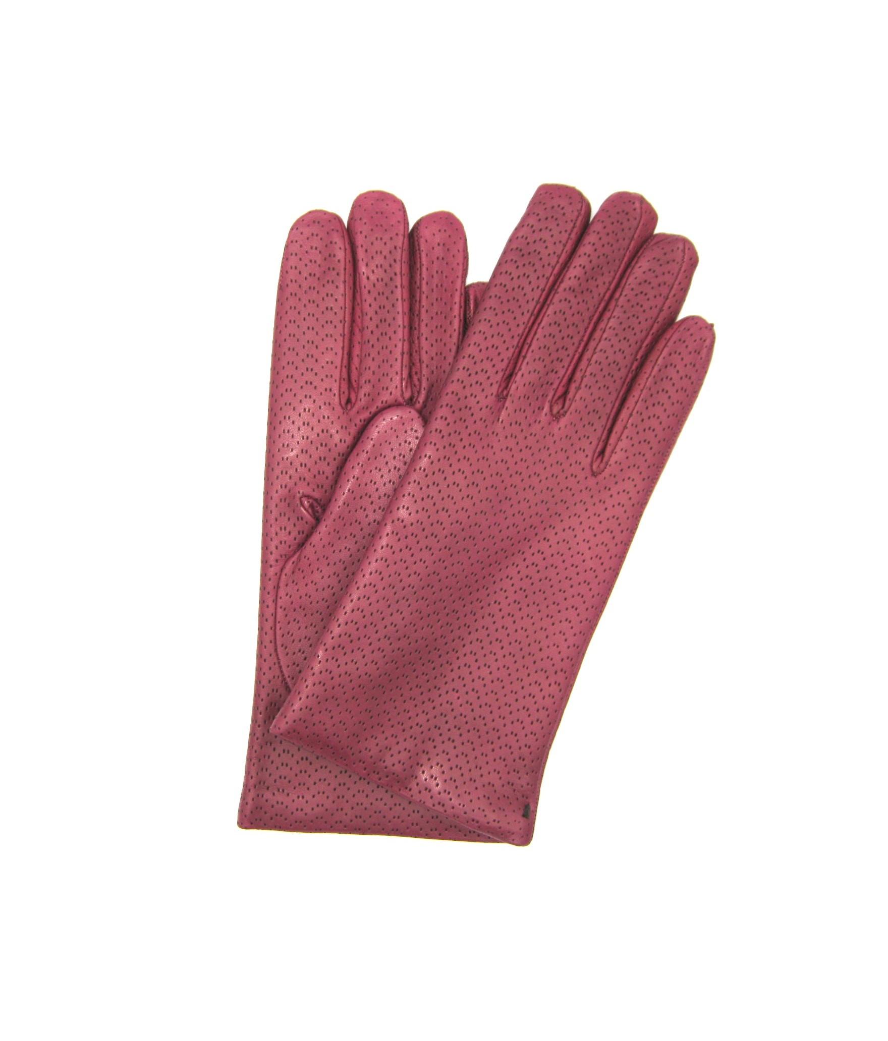 Nappa leather gloves 2bt,cashmere lined Magenta Sermoneta