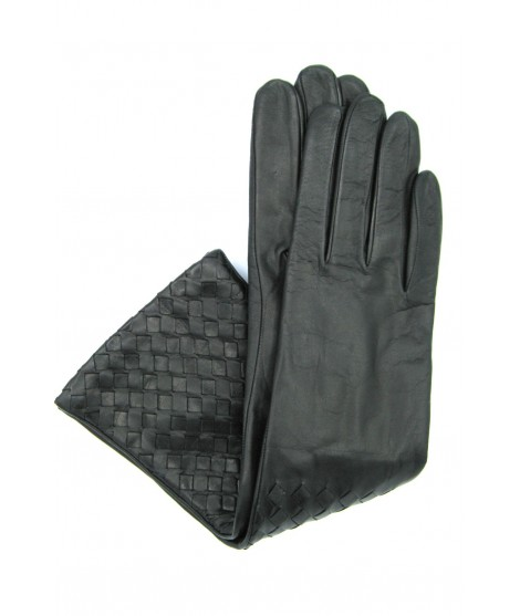 Nappa leather gloves 8bt,cashmere lined with Criss Cross Black