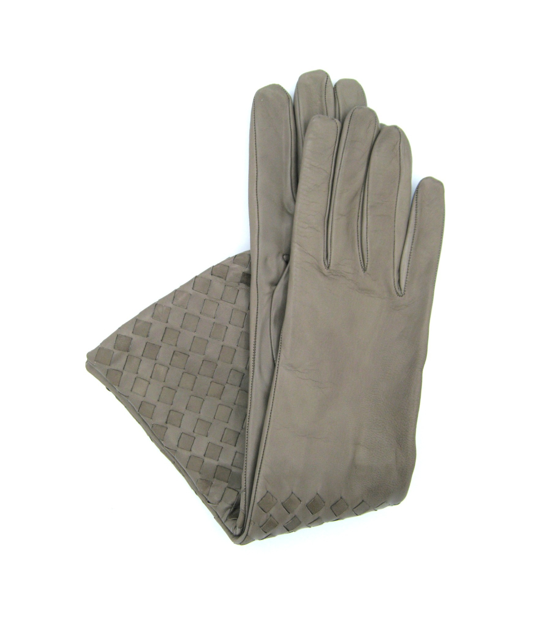 Nappa leather gloves 8bt,cashmere lined with Criss Cross Mud
