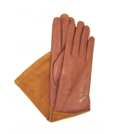 Gloves in Nappa and Suede Nappa 8bt cashmere lined Cognac