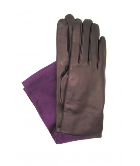 Gloves in Nappa and Suede Nappa 8bt cashmere lined Purple