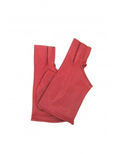 Nappa leather gloves with three fingers,silk lined Red