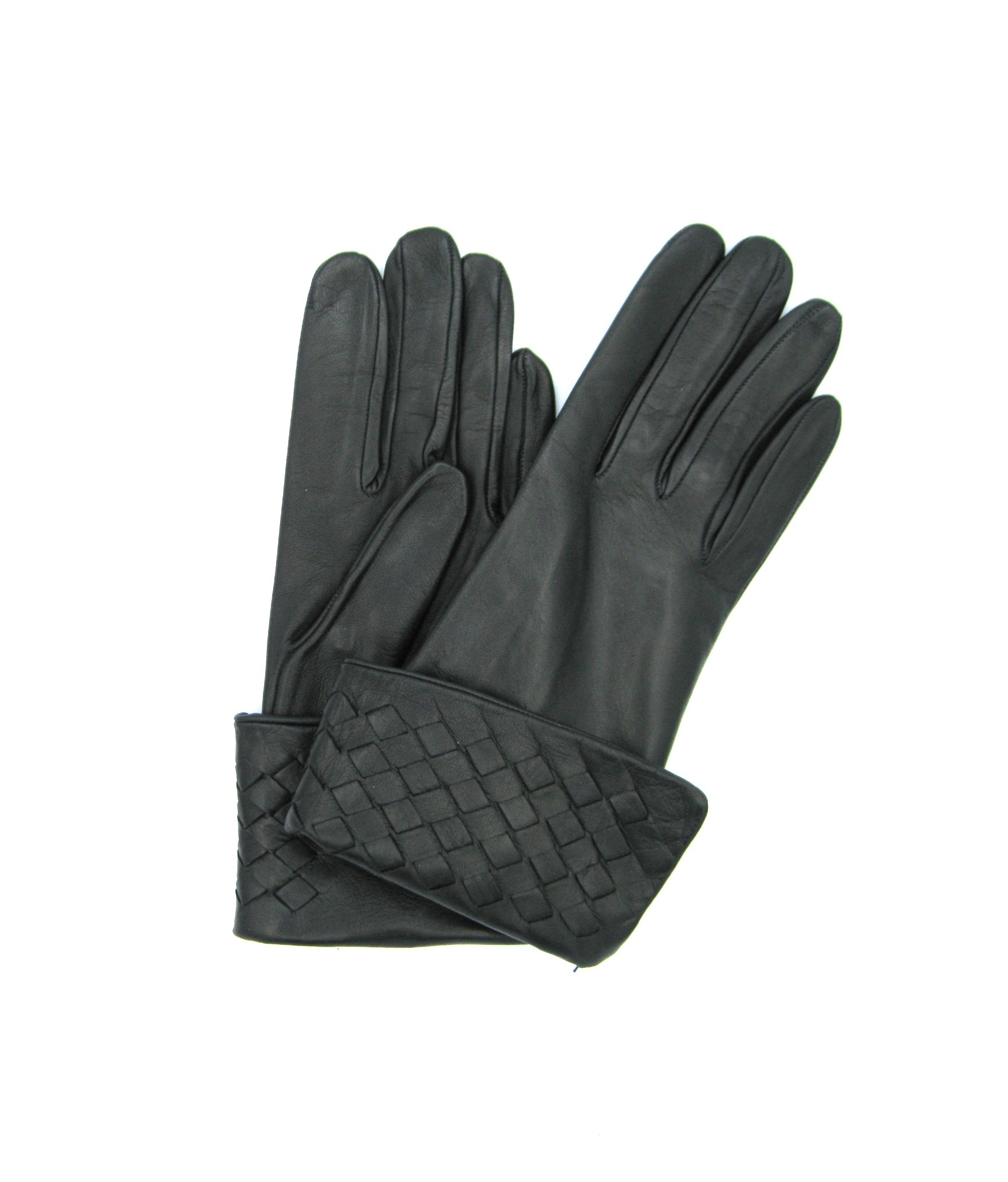 Nappa leather gloves silk lined with Criss Cross cuff Black