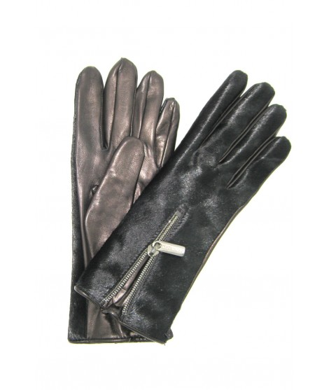 Nappa leather gloves with Fur and Zip, cashmere lined Black