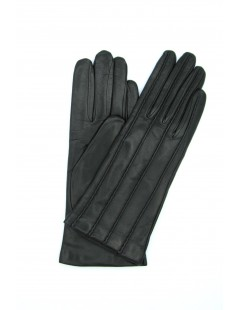 Nappa leather gloves with stitching, cashmere lined Black