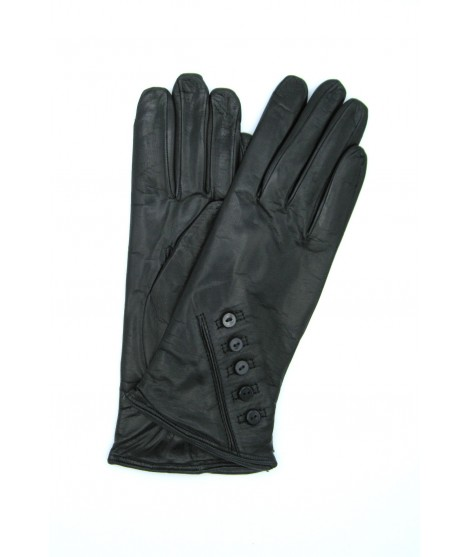 Nappa leather gloves 2bt cashmere lined with buttons Black
