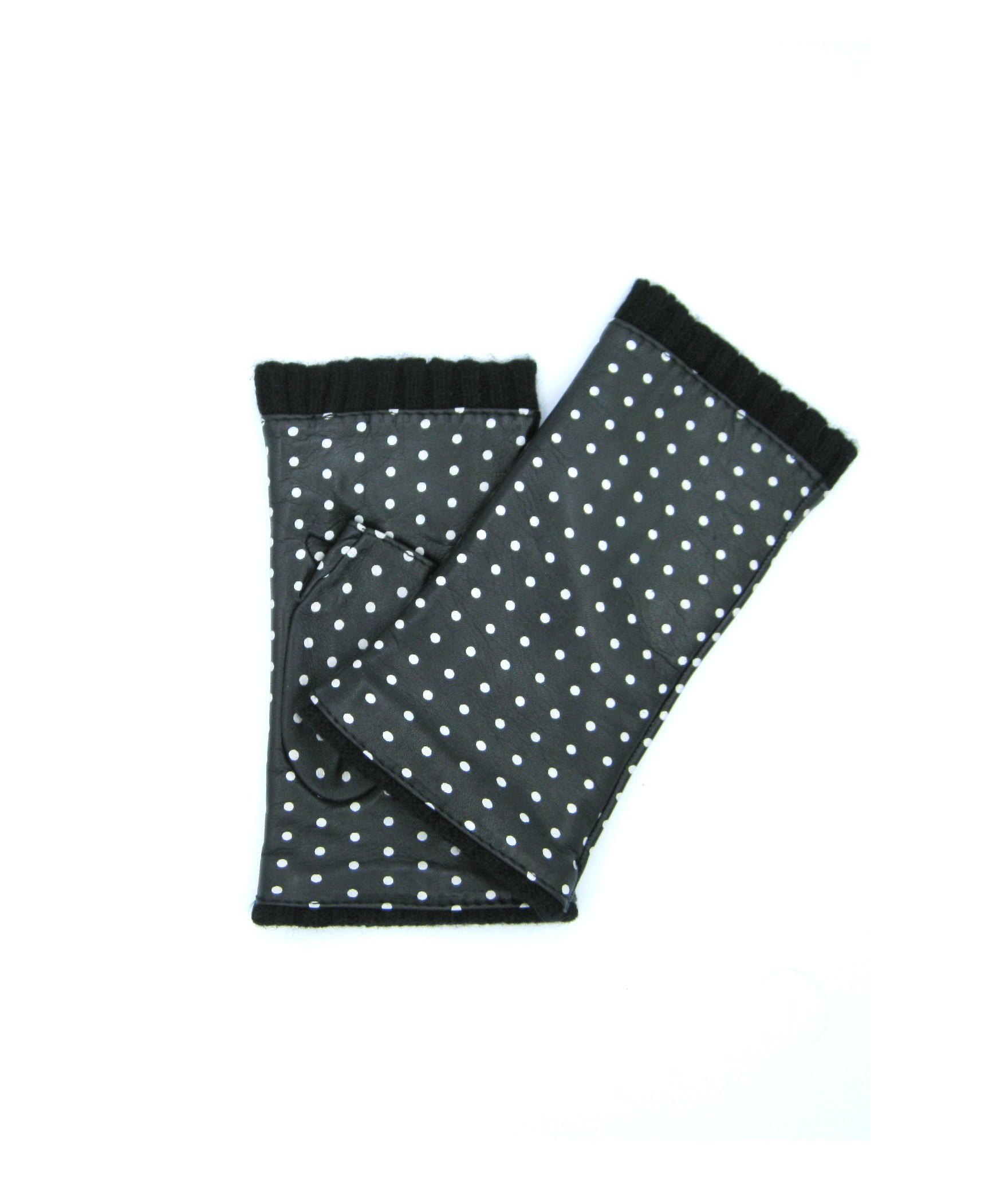 Half Mitten in Nappa leather with polka dots cashmere lined