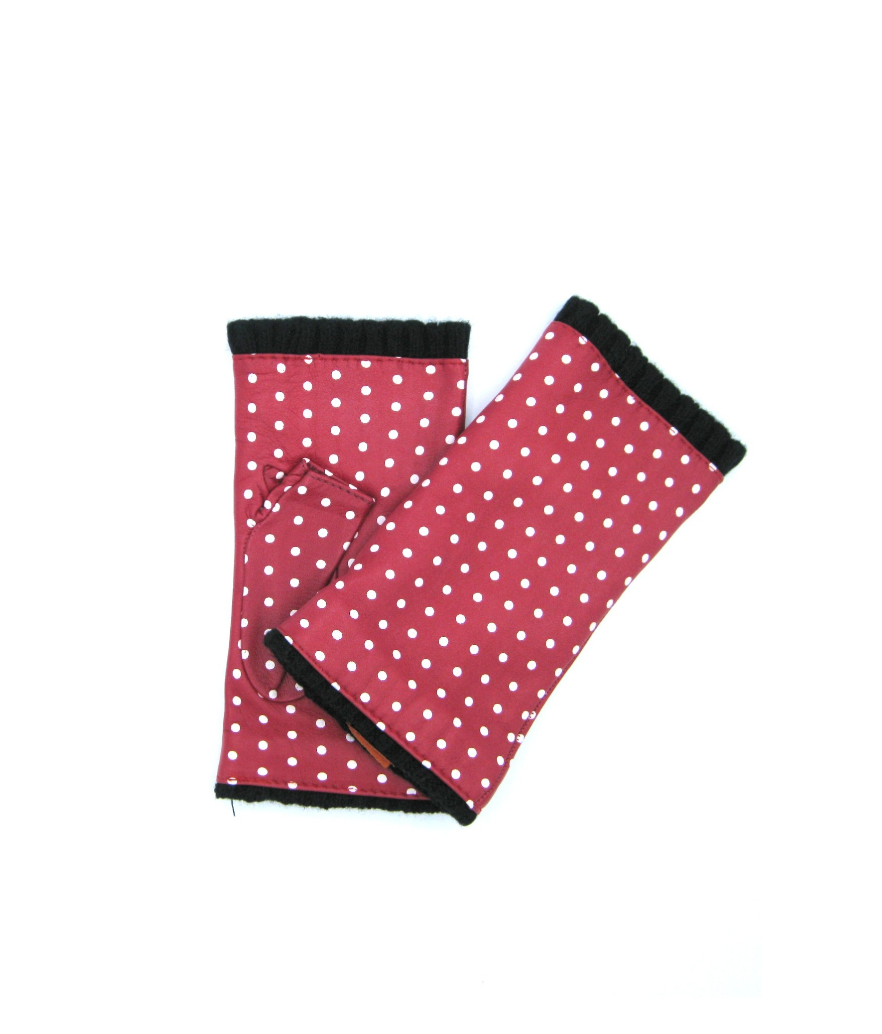 Half Mitten in Nappa leather with polka dots cashmere lined Red