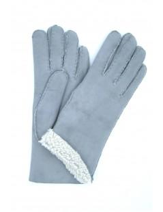 Sheepskin gloves with hand stitching Pearl Grey Sermoneta