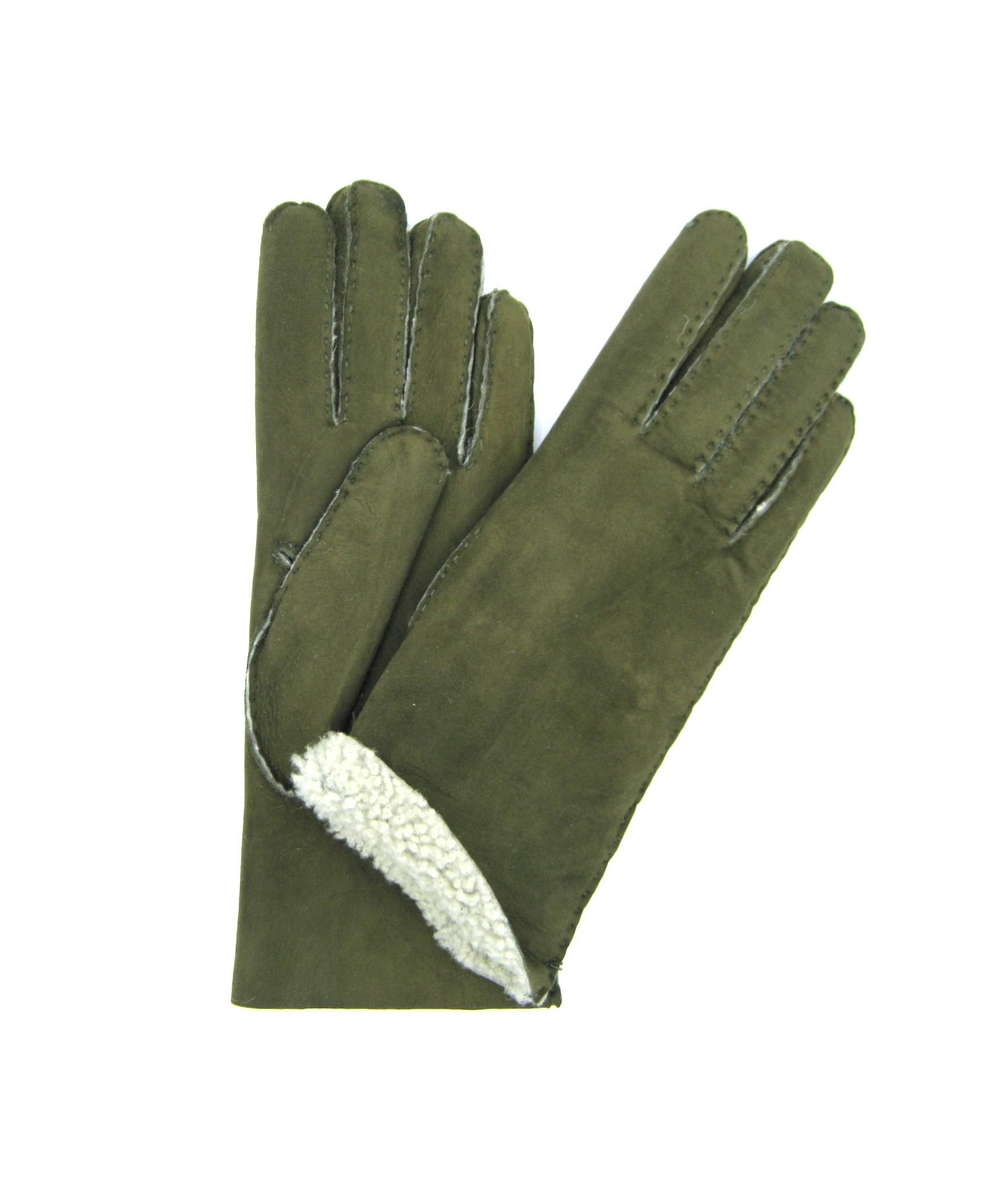 Sheepskin gloves with hand stitching Loden Sermoneta Gloves