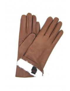 Nappa leather gloves 2bt Rabbit fur lined Tan Sermoneta Gloves