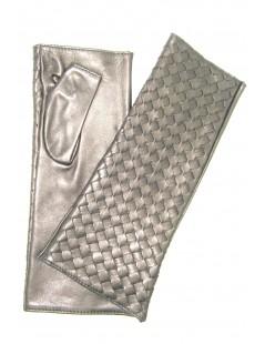 "Nappa glove fingerless 6BT ""Criss Cross"" Black Sermoneta Gloves"