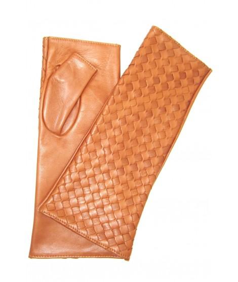 "Nappa glove fingerless 6BT ""Criss Cross"" Tan Sermoneta Gloves"
