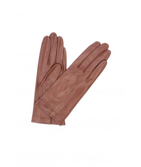 Nappa leather gloves Silk lined Cognac Sermoneta Gloves Leather