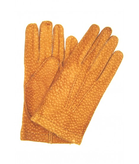 Unlined Carpincho leather gloves, Hand Stitching Tobacco