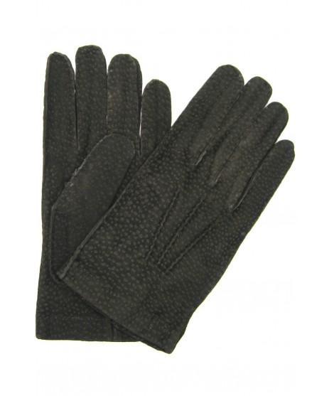 Unlined Carpincho leather gloves, Hand Stitching Dark Brown