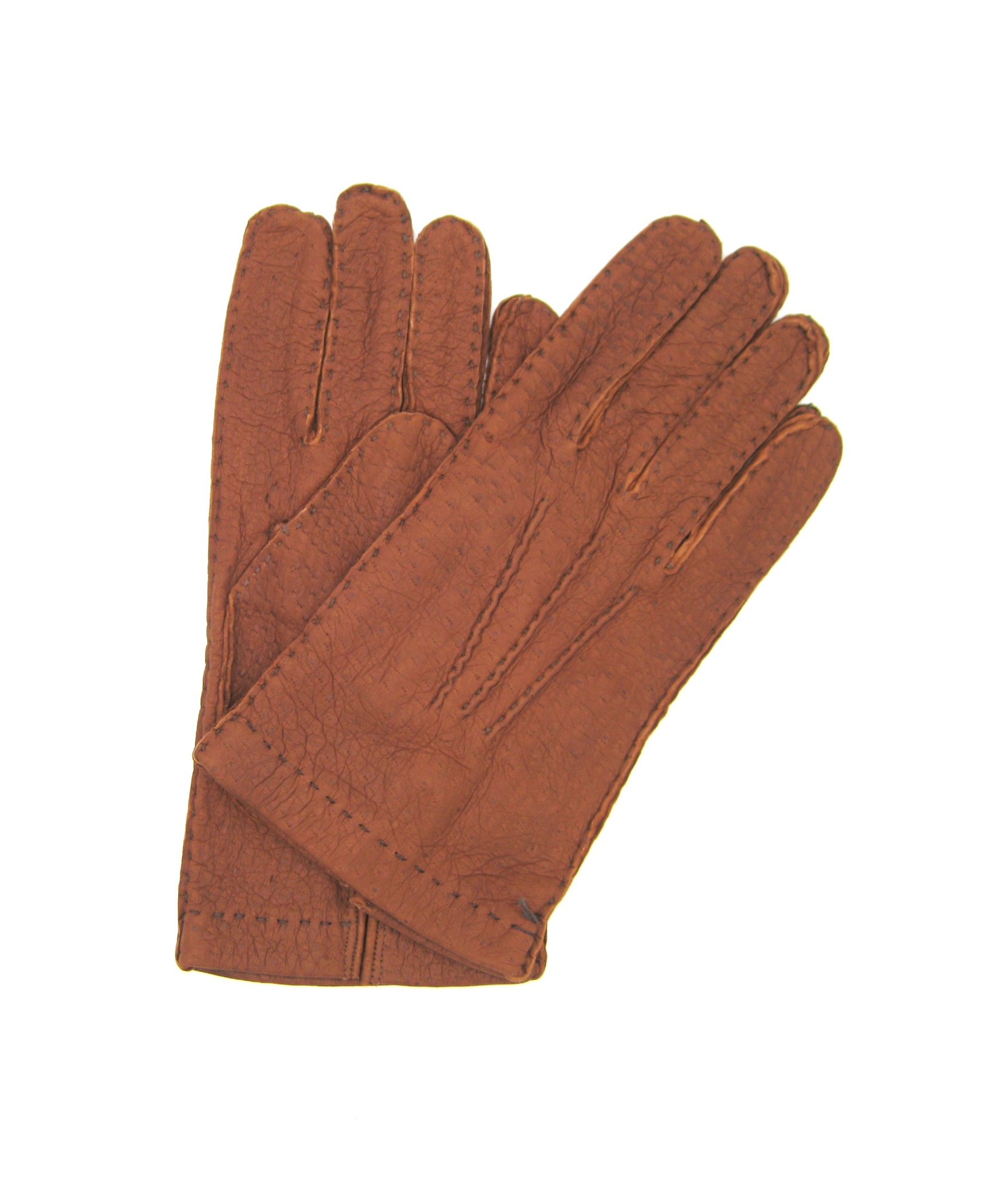 Unlined Peccary leather gloves, Hand Stitching Tobacco