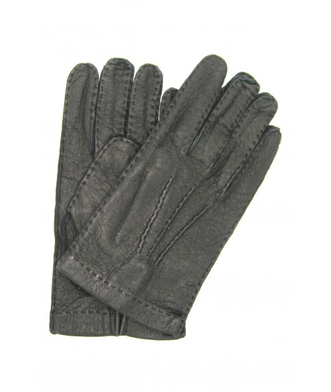 Unlined Peccary leather gloves, Hand Stitching Dark Brown