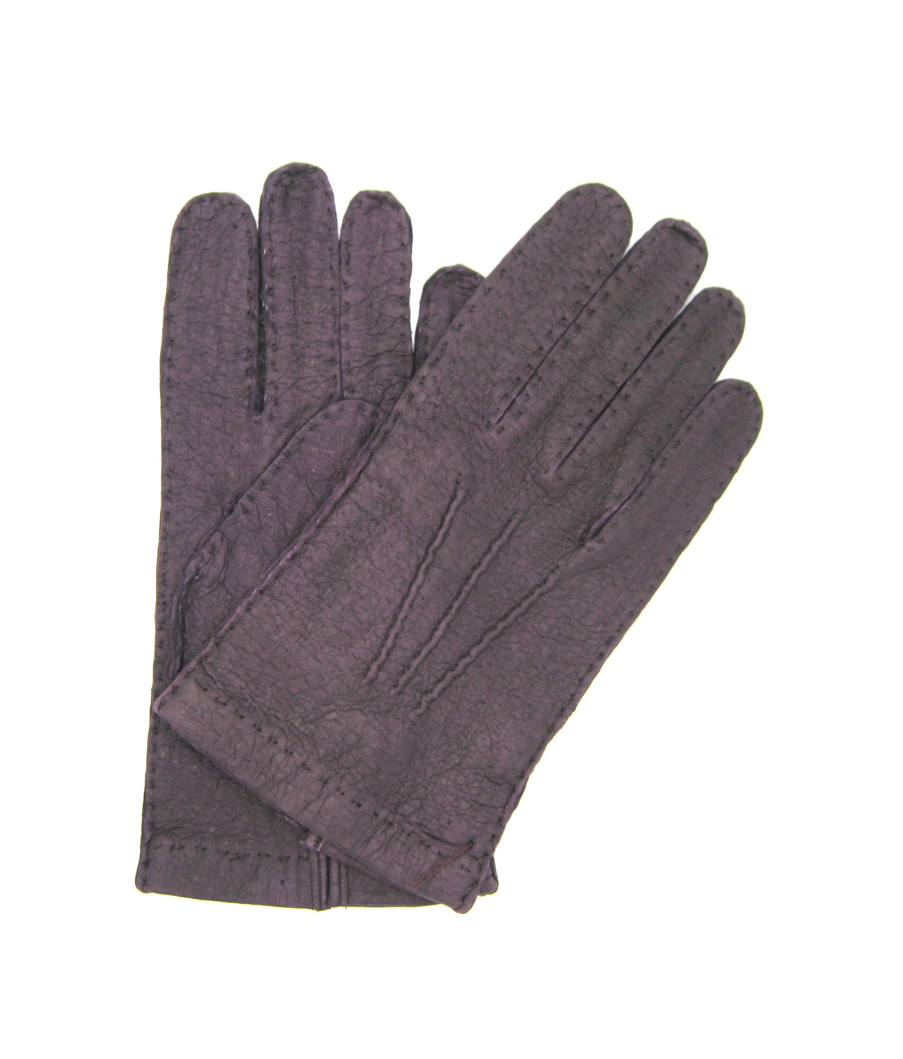 Unlined Peccary leather gloves, Hand Stitching Purple Sermoneta