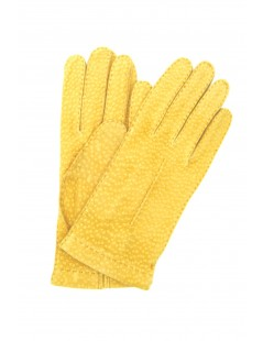 Unlined Carpincho leather gloves, Hand Stitching Yellow