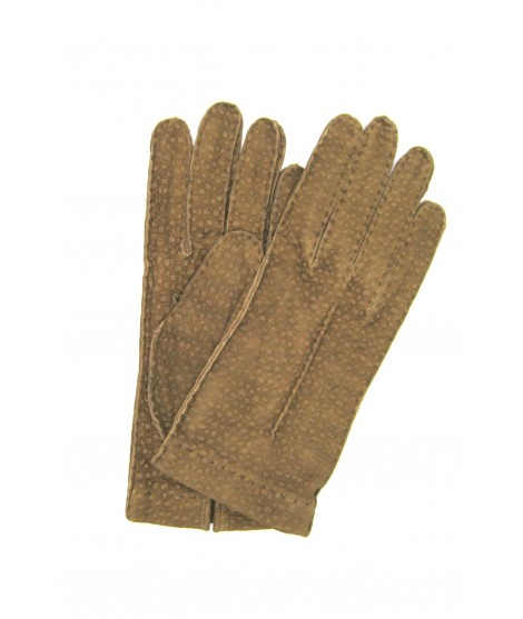 Unlined Carpincho leather gloves, Hand Stitching Taupe