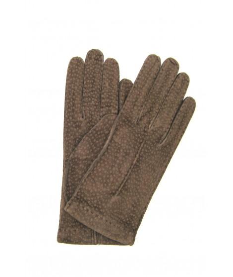 Unlined Carpincho leather gloves, Hand Stitching Mink Sermoneta