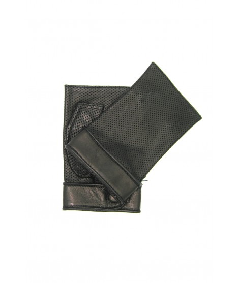 Gloves in perforated Nappa unlined fingerless Black Sermoneta