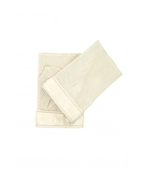 Gloves in perforated Nappa unlined fingerless Cream Sermoneta