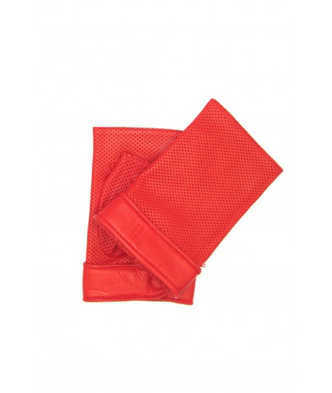 Gloves in perforated Nappa unlined fingerless Red Sermoneta
