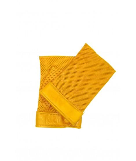 Gloves in perforated Nappa unlined fingerless Yellow Sermoneta