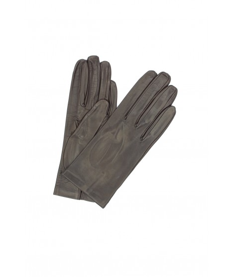 Nappa leather gloves Silk lined Dark Brown Sermoneta Gloves