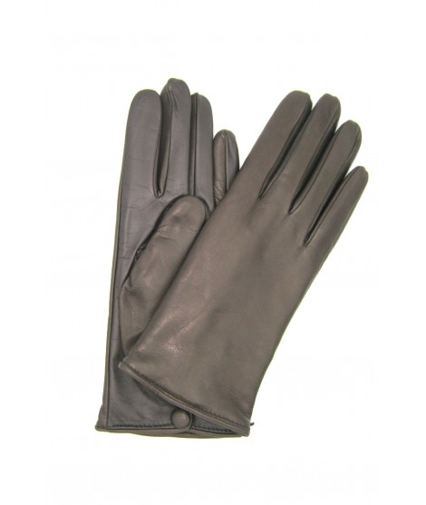 Touch Screen Nappa leather gloves with button, cashmere lined