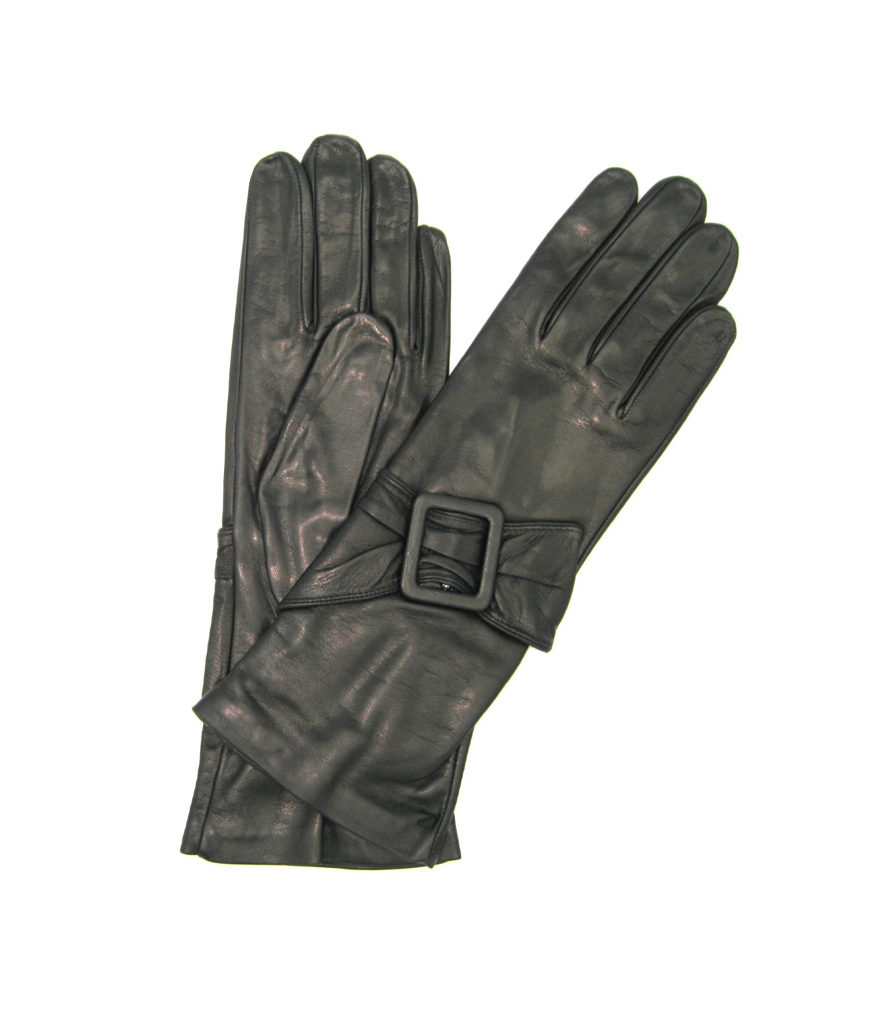 Guanto Nappa 4BT fodera seta con Fibbia Nero Sermoneta Gloves