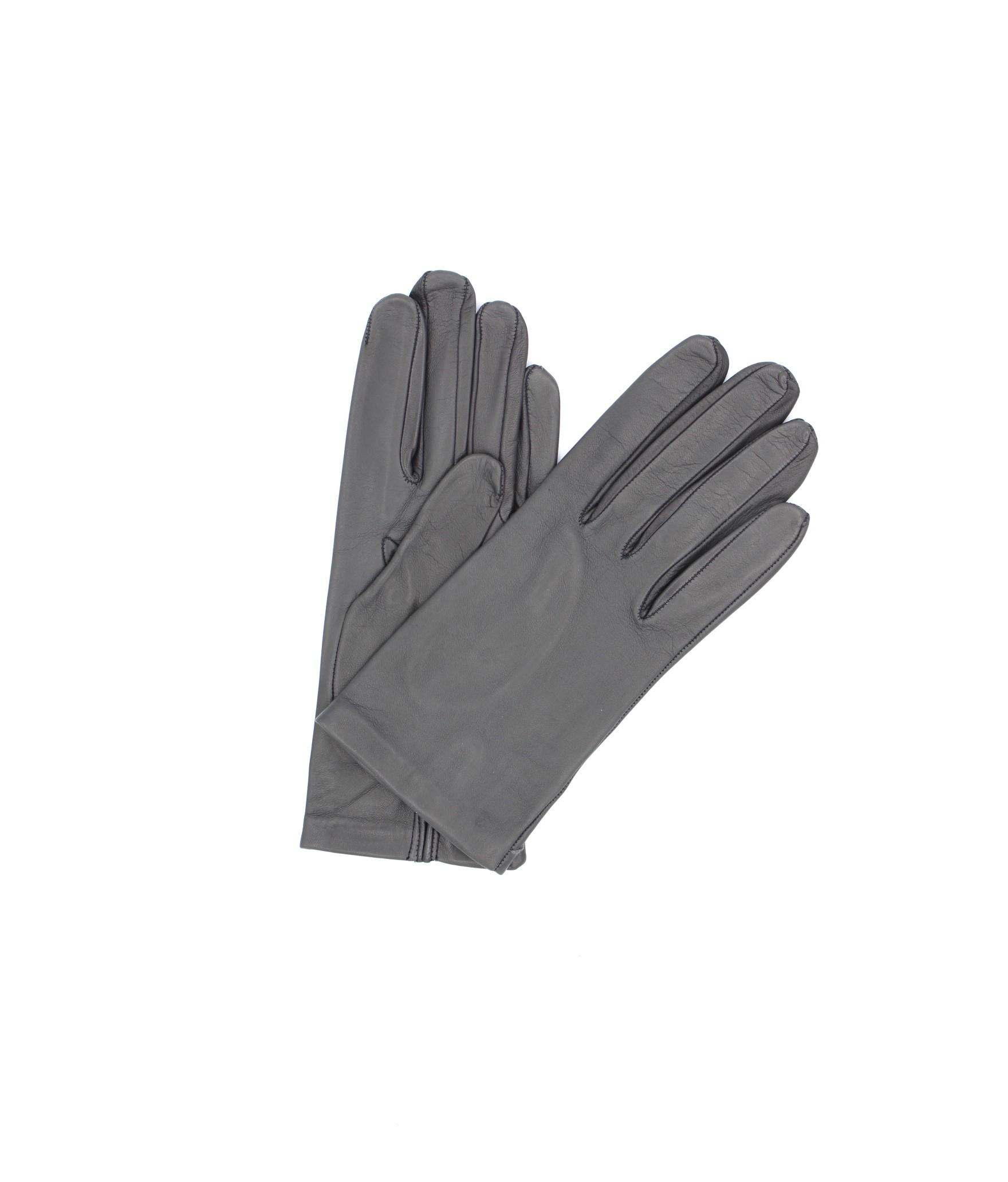 Nappa leather gloves Silk lined Dark Grey Sermoneta Gloves