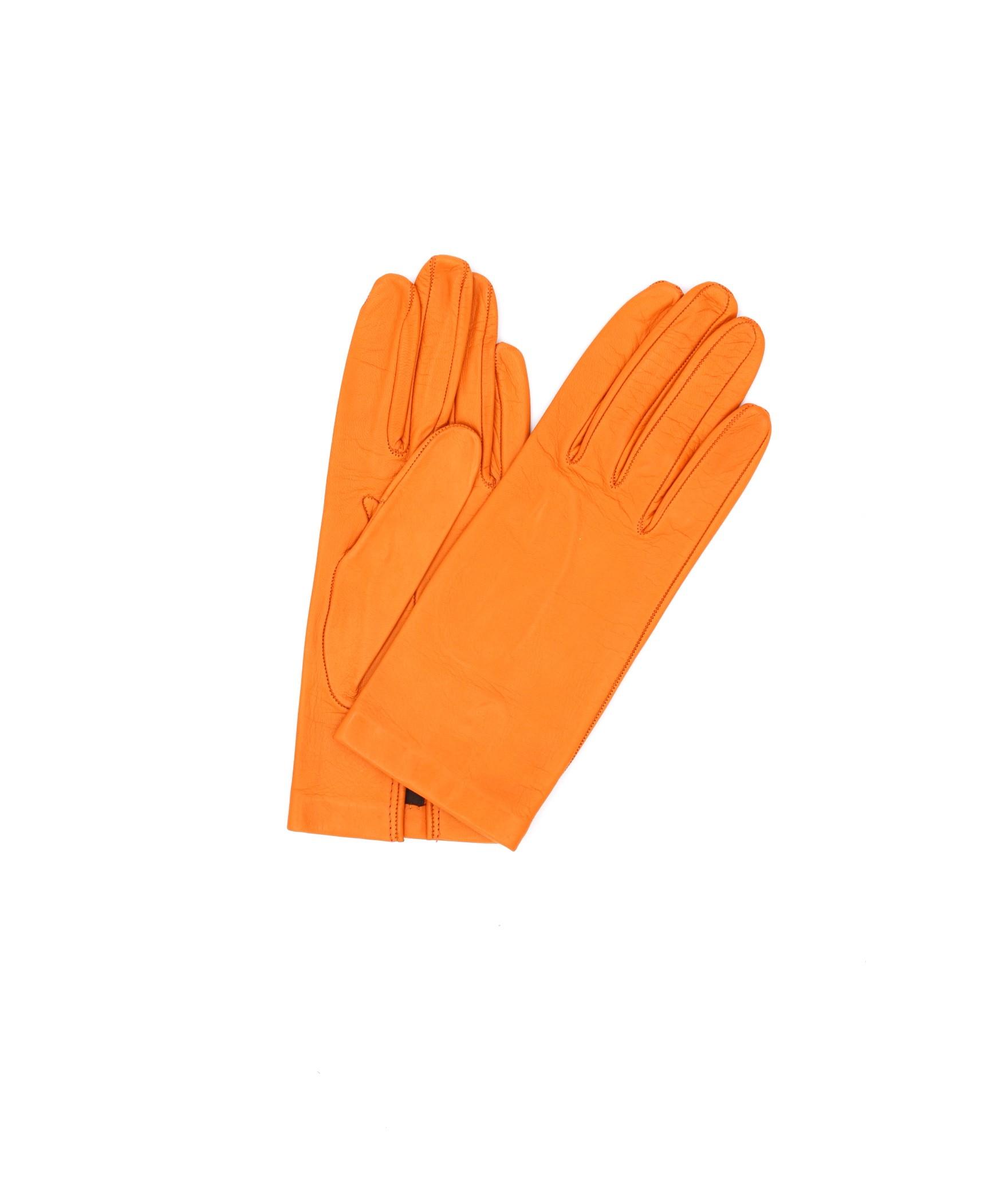 Nappa leather gloves Silk lined Light Orange Sermoneta Gloves