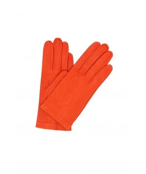 Nappa leather gloves Silk lined Orange Sermoneta Gloves Leather