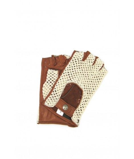 Driving gloves in Nappa leather fingerless with Rope Tan