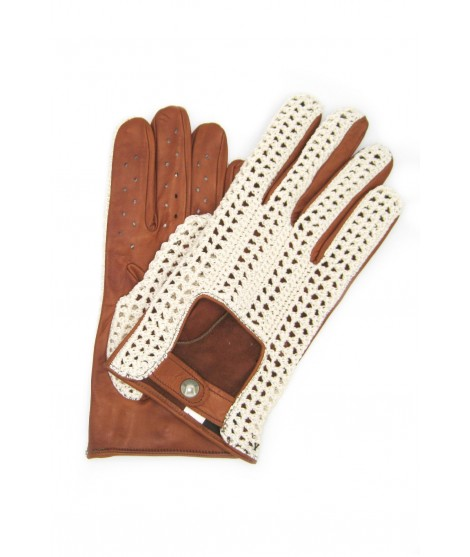 Driving gloves in Nappa leather and Rope Tan Sermoneta Gloves