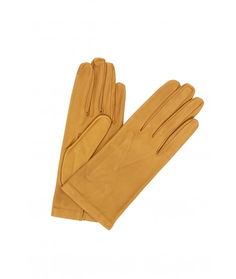 Nappa leather gloves Silk lined Camel Sermoneta Gloves Leather