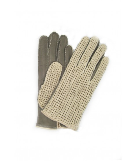 Driving gloves in Nappa and Rope, cashmere lined Beige/Taupe