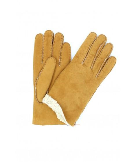 Sheepskin gloves with hand stitching Camel Sermoneta Gloves