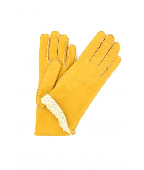 Sheepskin gloves with hand stitching Yellow Sermoneta Gloves