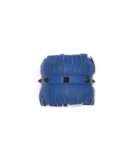 Nappa leather Bracelet with fringes and pyramidal studs