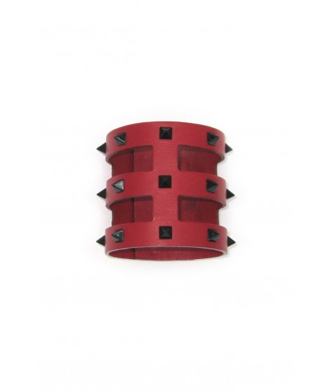 Cage bracelet in Nappa leather with pyramidal studs Red/Studs
