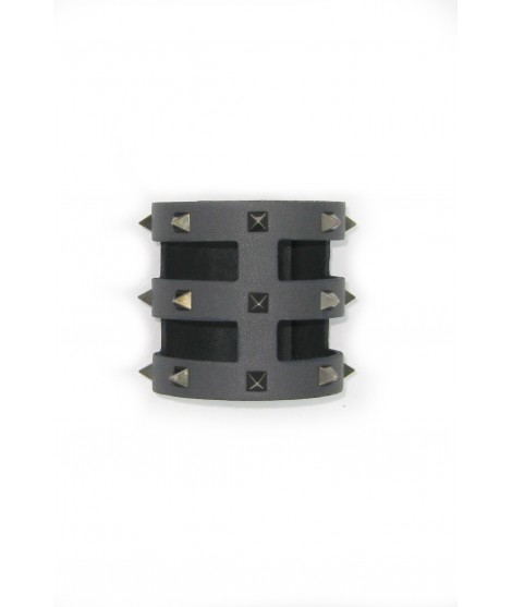 Cage bracelet in Nappa leather with pyramidal studs Grey/Studs