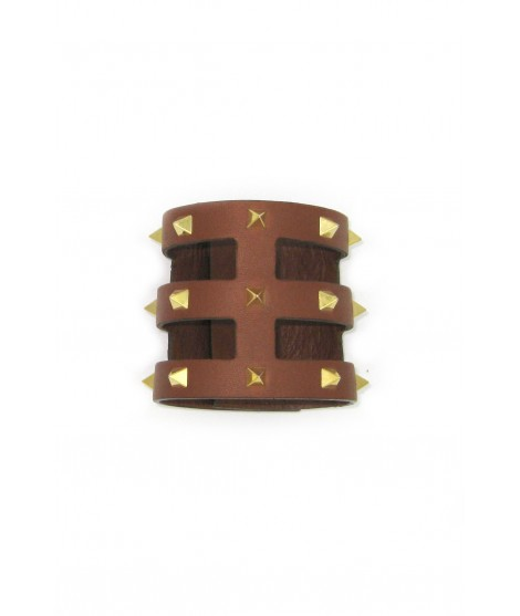 Cage bracelet in Nappa leather with pyramidal studs Tan/Studs