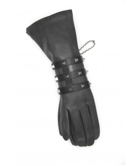Cage bracelet in Nappa leather with pyramidal studs Black/Studs