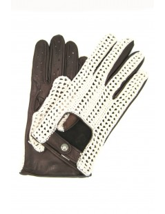 Driving gloves in Nappa leather and Rope Dark Brown Sermoneta