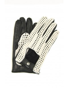 Driving gloves in Nappa leather and Rope Black Sermoneta Gloves