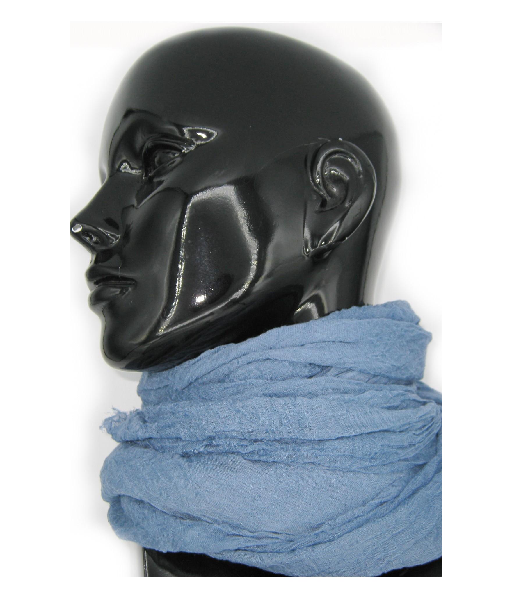 Ladies Stole in Modal and Silk Denim Sermoneta Gloves Leather